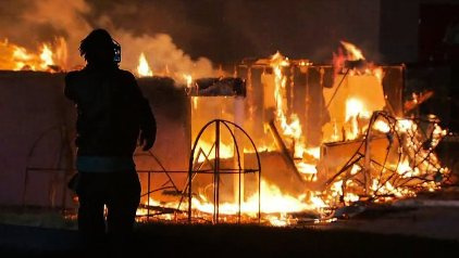 Fires spread throughout the city of Dellwood, Missouri during the protests.
