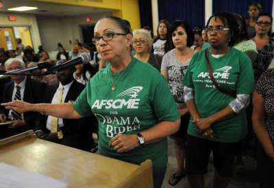 school union members testify.  Image from CTpost